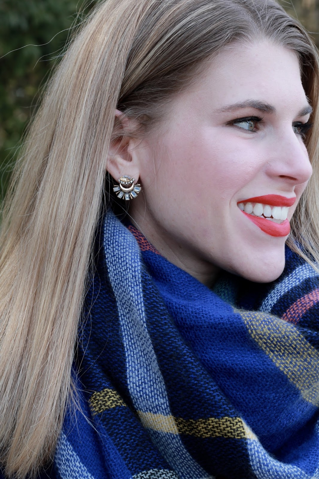 blue plaid blanket scarf, cobalt sweater, black jeans, red flats, red Dooney & Bourke bag,