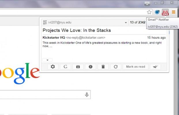 pemberitahuan dari ektensi Gmail Notifier