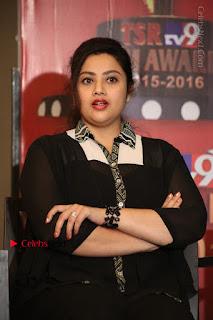 Tamil Actress Meena Latest Stills in Black Dress at TSR TV9 Awards Press Meet  0144.JPG