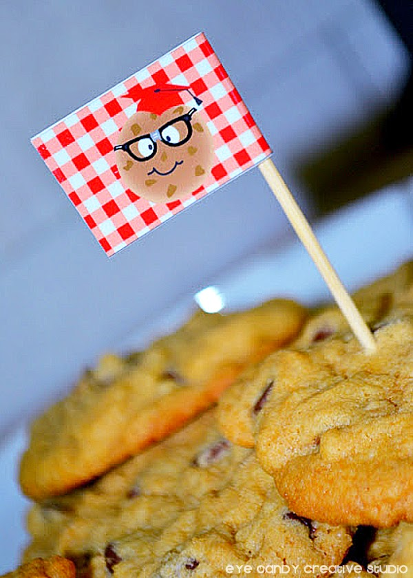 cookie grad, drink flags, red gingham paper, cookie crumb pattern