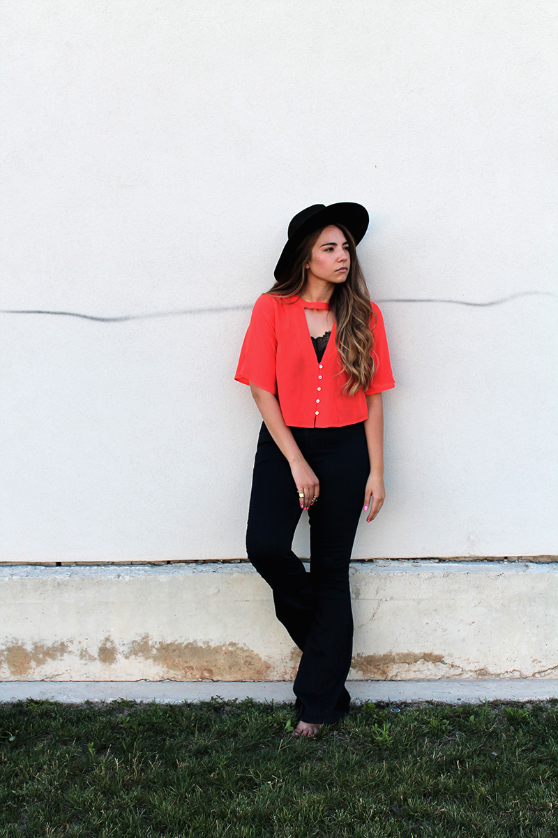 midi shirt, midriff shirt, orange blouse