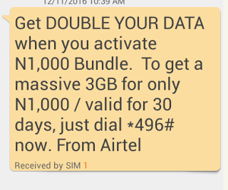 Airtel Double Data Offer  How To Double Your Data Via Airtel Double Data Offer Get 3GB for N1000, 7GB for N2000, 18GB for N4000