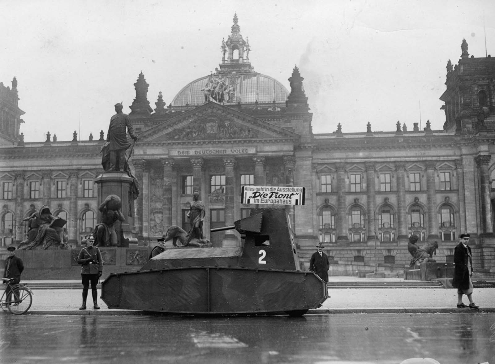 A German dummy tank in front of the Reichstag. 1932.