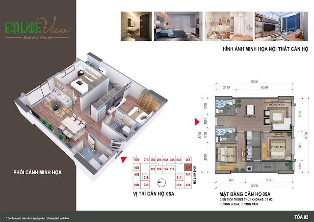 Thiết kế căn hộ 05A tòa HH2 chung cư ECO LAKE VIEW