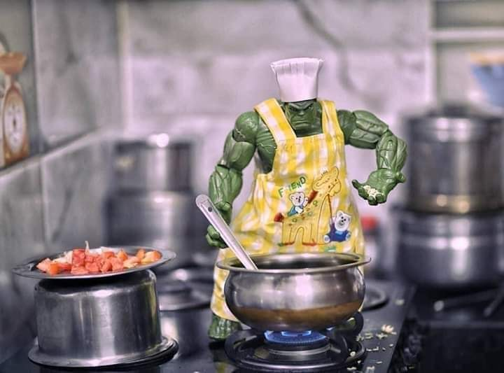 Super Hero Hulk cooking food