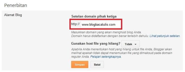 Cara Merubah Domain Blogspot