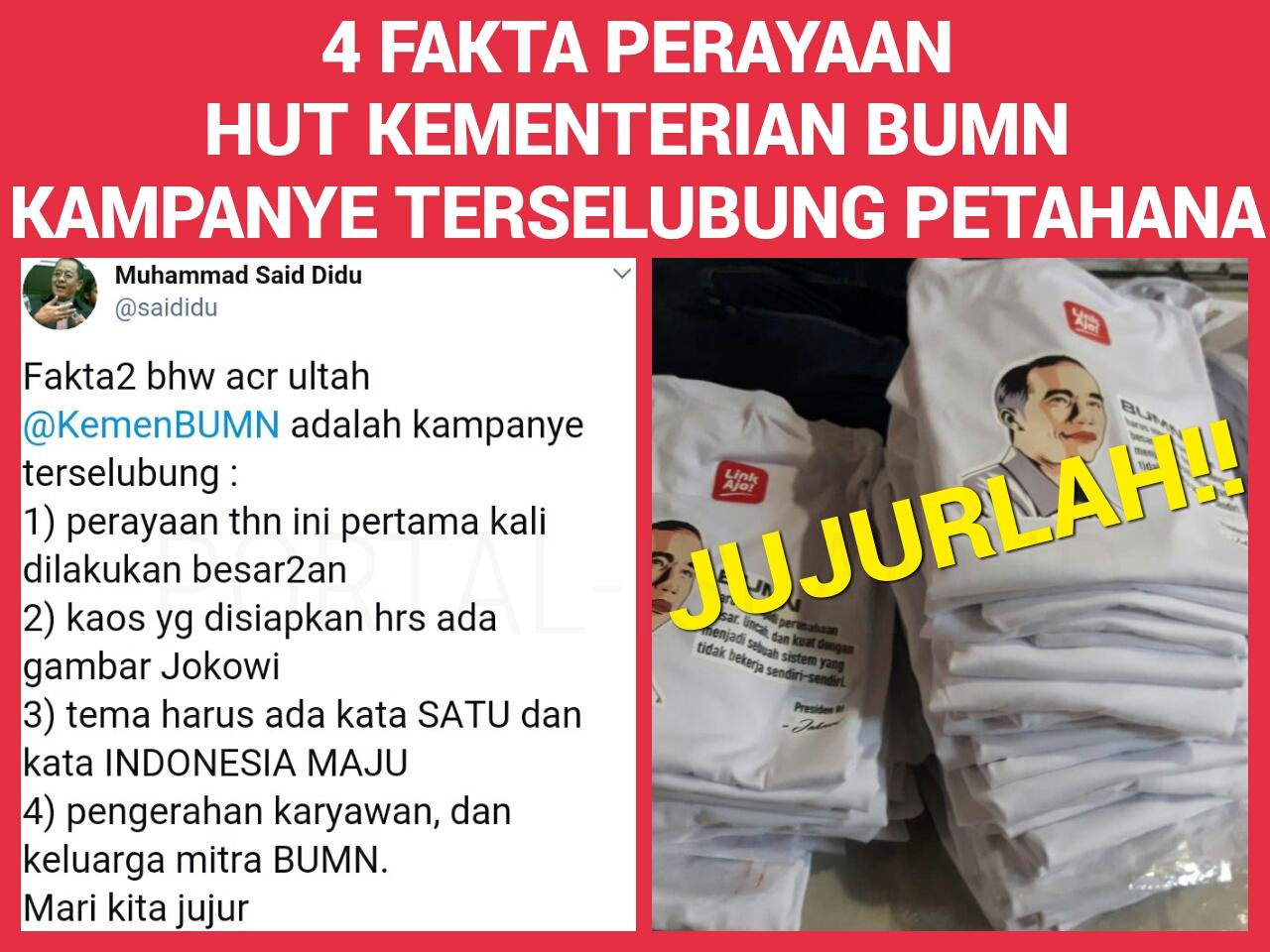 Ungkap 4 Fakta Perayaan HUT Kementerian BUMN Kampanye Terselubung Capres Petahana, Said Didu ...
