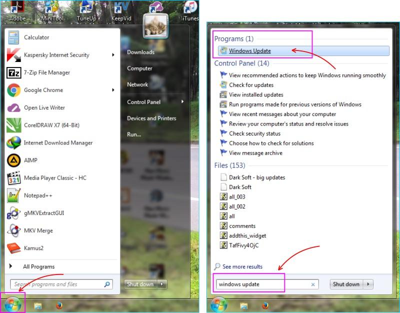 Update Windows 7 - Masuk ke Halaman Update