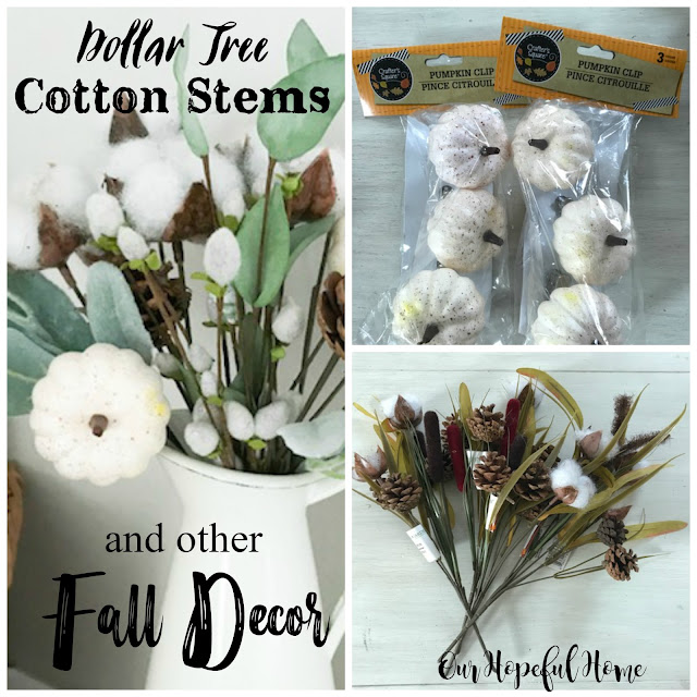 Dollar Tree cotton boll stem baby boo pumpkin fall bouquet decor