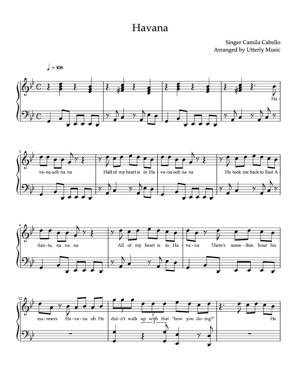 Utterly Music Piano Scores Havana By Camila Cabello