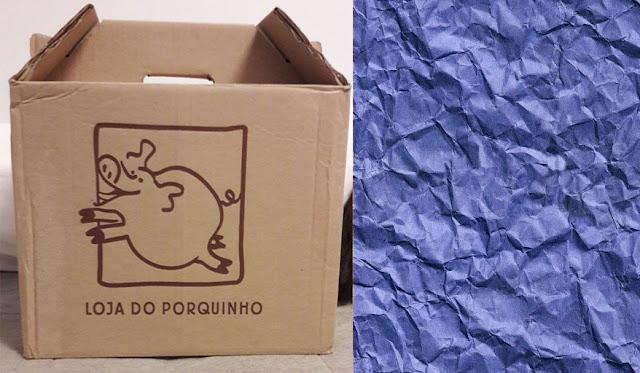 caixa do pacote mais papel de seda
