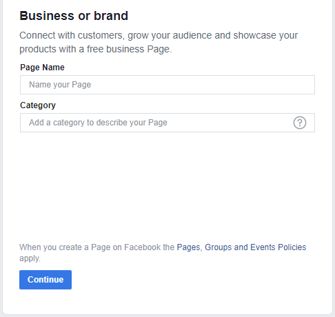 Facebook page name and category