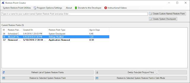تحميل برنامج نقطة استعادة النظام للكمبيوتر Restore Point Creator