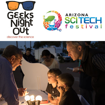 Poster for Geeks Night Out with AZ SciTech Fest logo.  Image of attendees being captivated by Rich Cuprak