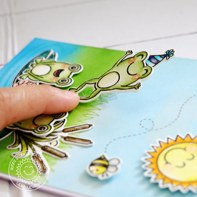 Sunny Studio Stamps: Froggy Friends Happy Birthday Wiggly Frog Card by Lexa Levana