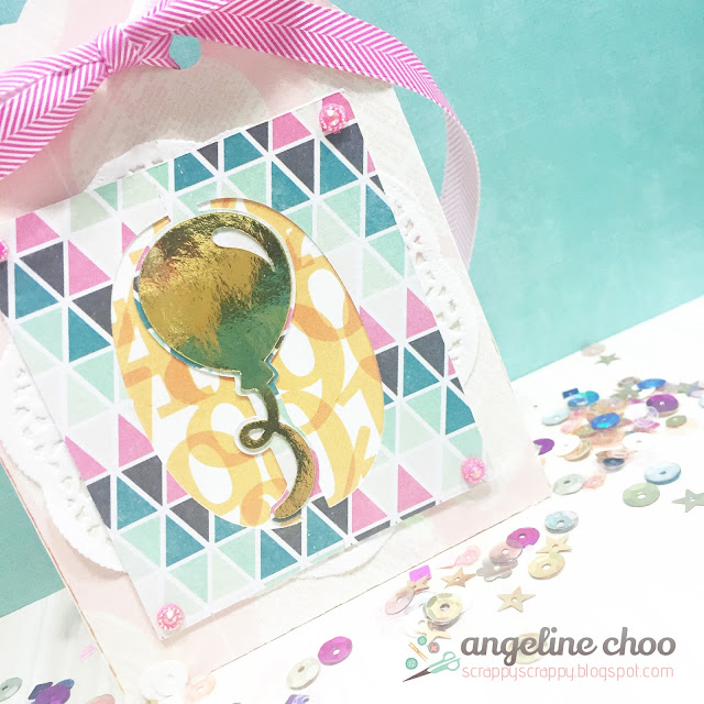 ScrappyScrappy: Party gift bag with Angeline #svgattic #scrappyscrappy #svg #cutfile #diecut #party #birthday #giftbag #balloon
