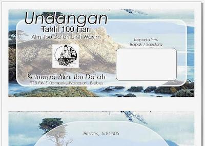 Free Download Motif Undangan Tahlil & Doa 100 Hari Kematian Bersama Keluarga