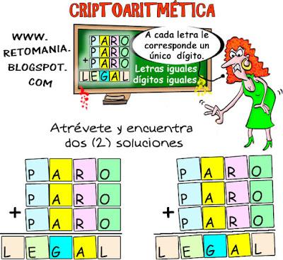 Criptoaritmética, Alfamética, Problemas criptoaritméticos, Criptosumas, Desafíos matemáticos, Problemas matemáticos, Juegos de lógica