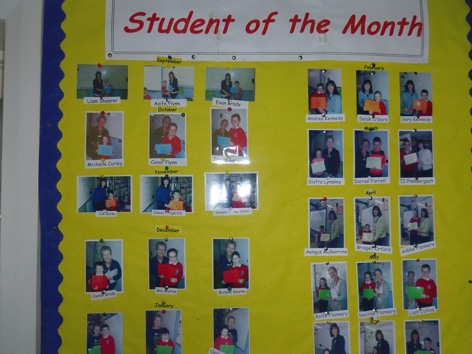 Student of the Month and Award Wall 2015-2016 | St. Thomas\' National ...