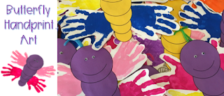 Butterfly Handprint Art Projects for spring.  Use paint and my free body template to create this adorable butterfly to decorate bulletin boards or windows.  this is a great art project for open house and fun for pre-school and kindergarten students.