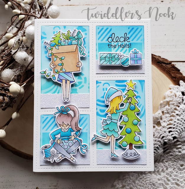 Deck the Halls Card by November Guest Designer Amanda Wilcox | Christmas Trimmings Stamp Set,  Gingham Stencil, and Ornaments Stencil by Newton's Nook Designs  #newtonsnook #handmade