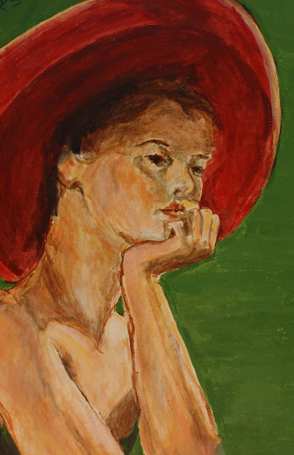 hat, painting, woman, lady, red, sarah, myers, summer, pensive, fashion, face, head, portrait, figurative, classic, graceful, green, modern, pintura, art, arte, eyes, acrylic, canvas, brushwork