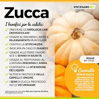 Zucca: proprietà nutrizionali, benefici e consigli d'uso  Fonte: https://www.viversano.net/alimentazione/mangiare-sano/zucca-proprieta-benefici-controindicazioni/