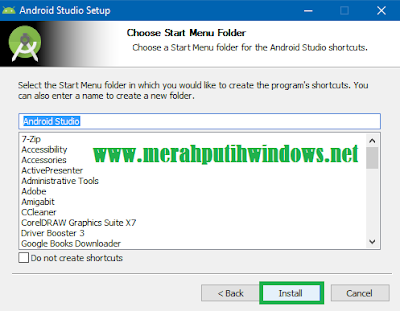 start menu folder android studio
