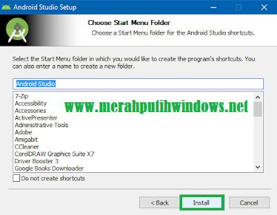 start menu folder android studio