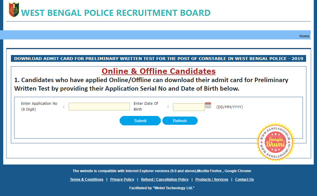 Download West Bengal Police Constable Admit Card 2019