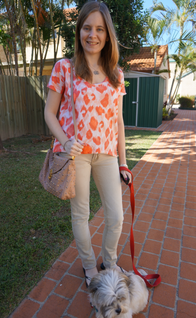 jeans and tee OOTD sass and bide new day rising leopard tee