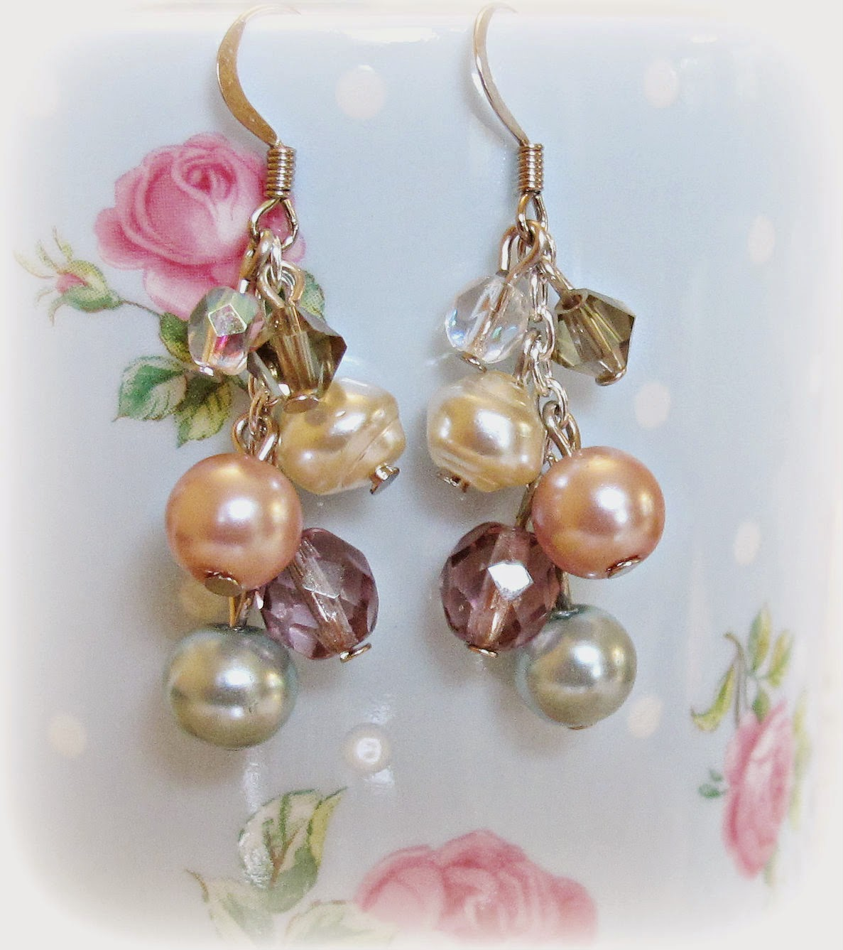 image multidrop earrings glass pearls multicoloured blue pink purple clear smoky grey two cheeky monkeys dangle