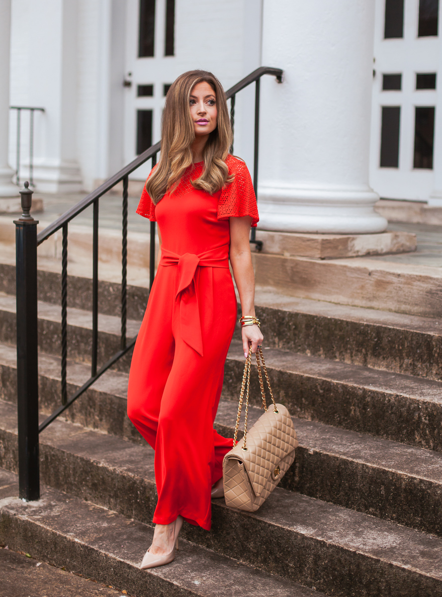 cece red mix media tie waist jumpsuit