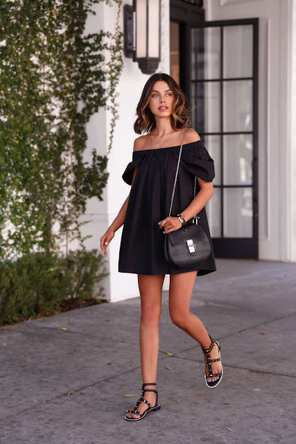 black dress in the summer