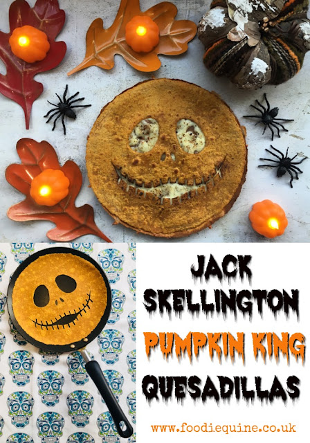 www.foodiequine.co.uk Celebrate Halloween, Dia de los Muertos (or Christmas?) with the Pumpkin King himself. Jack Skellington! Quick and easy to make but SO effective these Vegetarian Mexican Quesadillas are sure to be a spooky sensation.