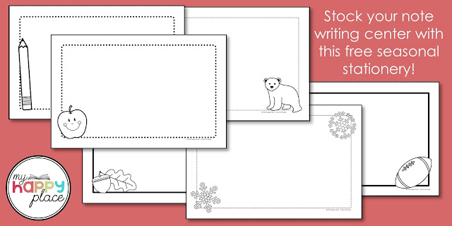 free seasonal stationery for your note writing literacy center
