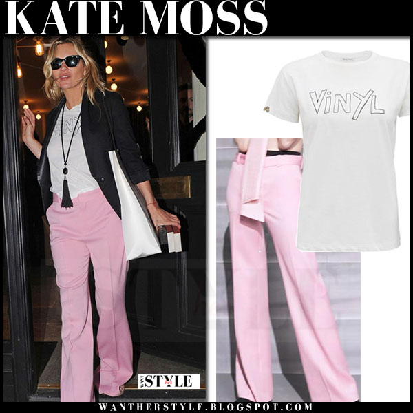 Kate Moss in pink trousers and white t-shirt bella freud what she wore