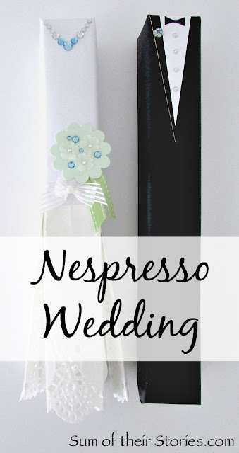 Bride and Groom gift wrap Nespresso boxes