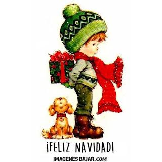 Imágenes de Feliz Navidad para desear Felices Fiestas Bonita tarjeta niño y perro con regalos para enviar a grupos de Whatsapp