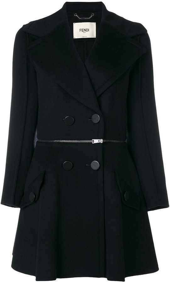 fendi zip waist detail coat