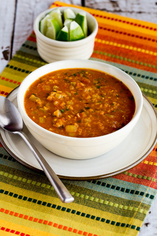 Mexican Red Lentil Stew with Lime and Cilantro found on KalynsKitchen.com