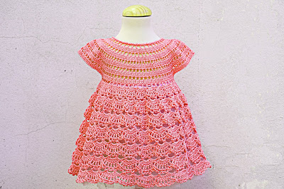 7 - Crochet IMAGEN Vestido rosa de abanicos a ganchillo Majovel Crochet