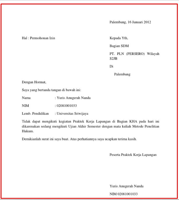 Contoh Surat Izin Sakit Sekolah Tulis Tangan