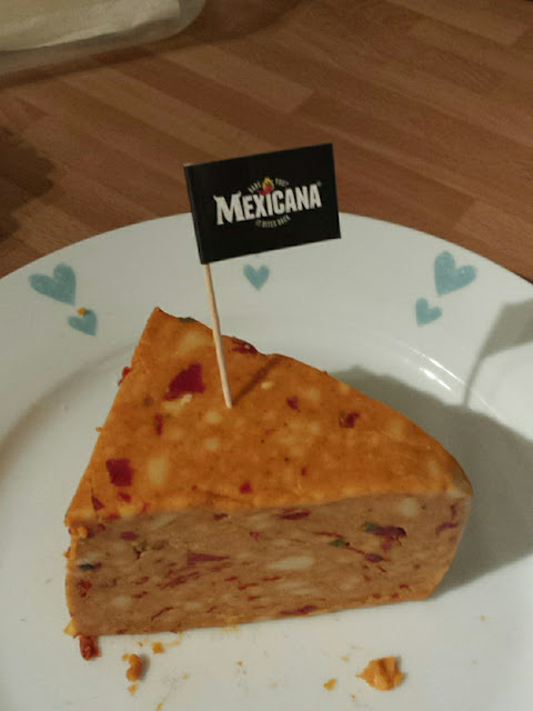 block of extra hot mexicana cheese with flag