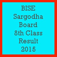 8th Class Result 2017 BISE Sargodha Board