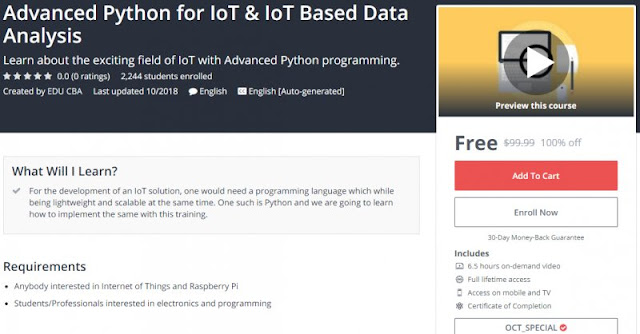 [100% Off] Advanced Python for IoT & IoT Based Data Analysis| Worth 99,99$