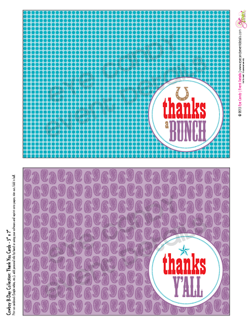 cowboy birthday party thank you cards, polka dots, purple bandana print