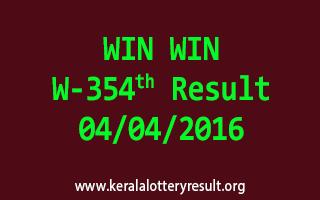 WIN WIN W 354 Lottery Result 4-4-2016