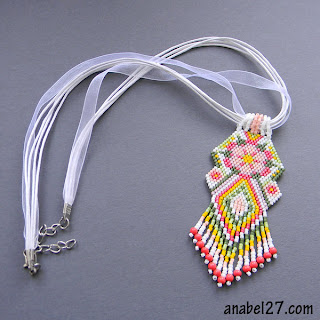 beaded pendant ethnic necklace beadwork  flower peyote seed bead delica