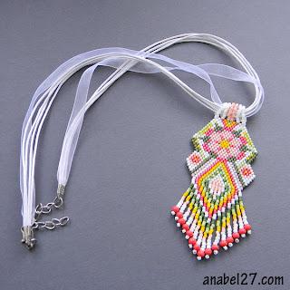 beaded pendant ethnic necklace beadwork  flower peyote seed bead delica